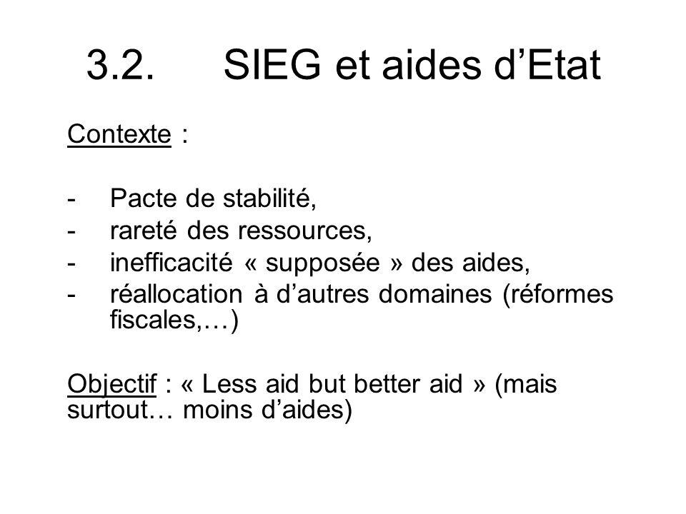 3.2.SIEG et aides dEtat Contexte : -Pacte de stabilité, -rareté des ressources, -inefficacité « supposée » des aides, -réallocation à dautres domaines (réformes fiscales,…) Objectif : « Less aid but better aid » (mais surtout… moins daides)