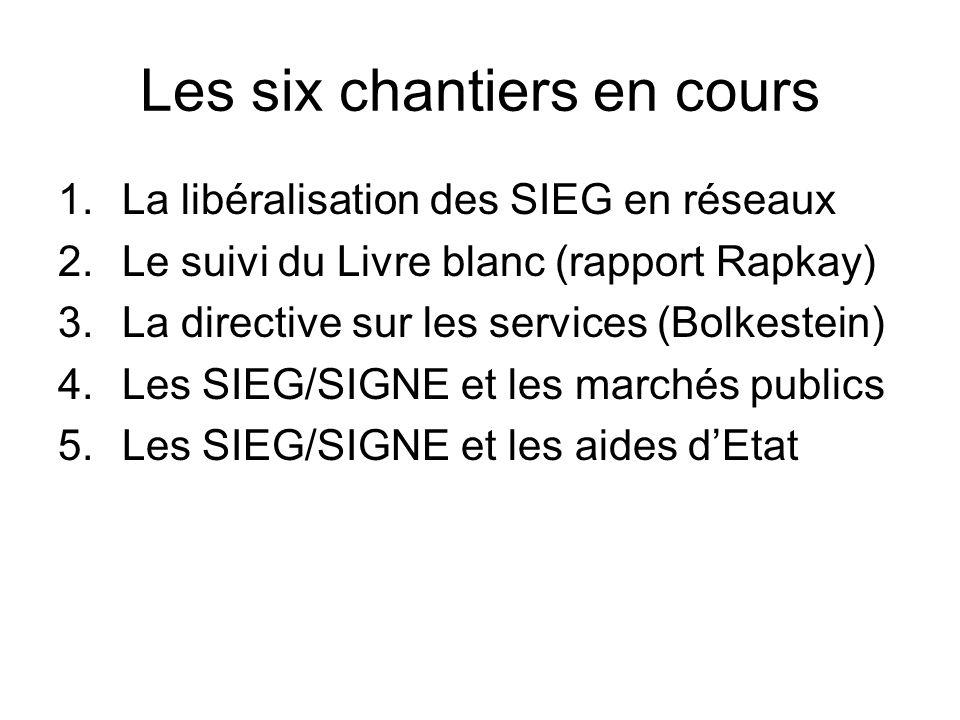 Les six chantiers en cours 1.La libéralisation des SIEG en réseaux 2.Le suivi du Livre blanc (rapport Rapkay) 3.La directive sur les services (Bolkestein) 4.Les SIEG/SIGNE et les marchés publics 5.Les SIEG/SIGNE et les aides dEtat