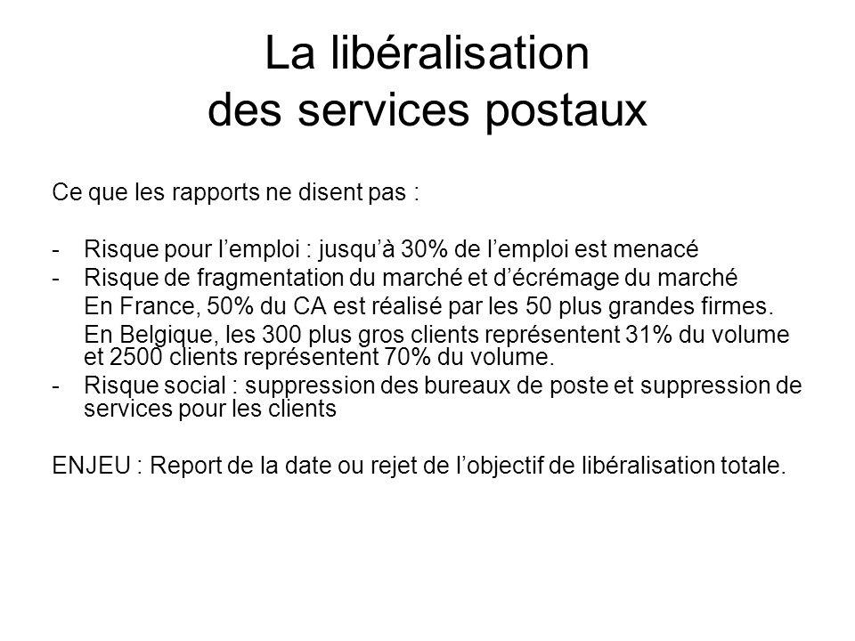 La libéralisation des services postaux Ce que les rapports ne disent pas : -Risque pour lemploi : jusquà 30% de lemploi est menacé -Risque de fragmentation du marché et décrémage du marché En France, 50% du CA est réalisé par les 50 plus grandes firmes.