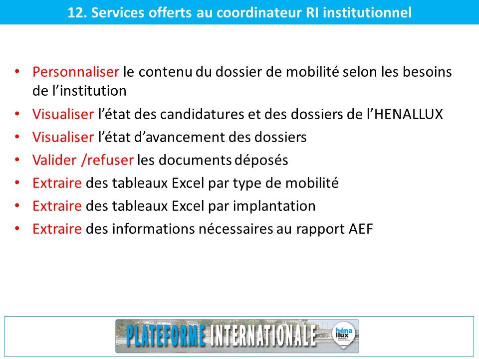 12. Services offerts au coordinateur RI institutionnel Personnaliser le contenu du dossier de mobilité selon les besoins de linstitution Visualiser lé