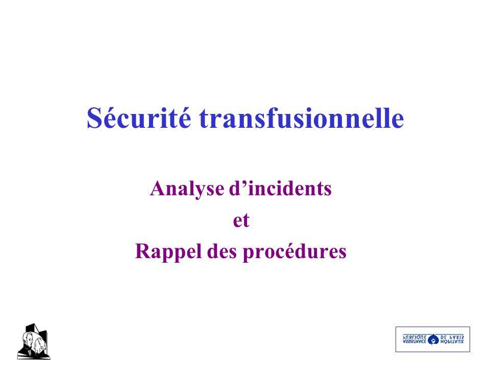 Sécurité transfusionnelle Analyse dincidents et Rappel des procédures