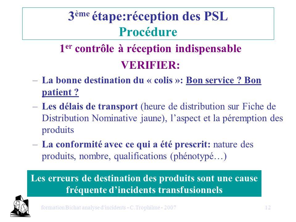 formation Bichat analyse d'incidents - C.Trophilme - 200712 1 er contrôle à réception indispensable VERIFIER: –La bonne destination du « colis »: Bon