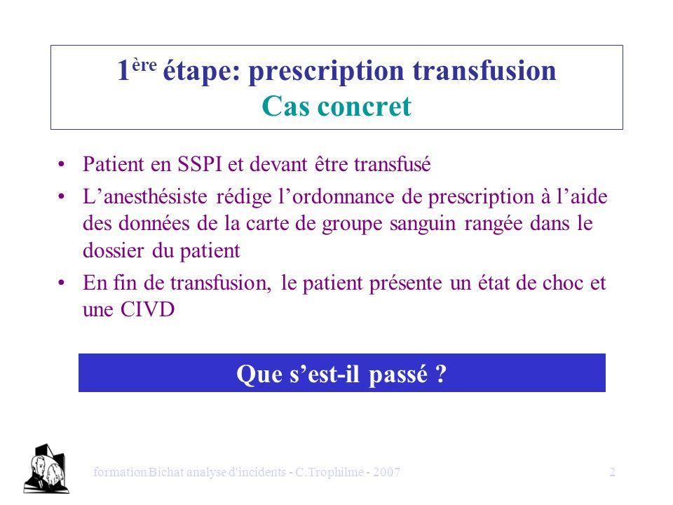 formation Bichat analyse d'incidents - C.Trophilme - 20072 1 ère étape: prescription transfusion Cas concret Patient en SSPI et devant être transfusé