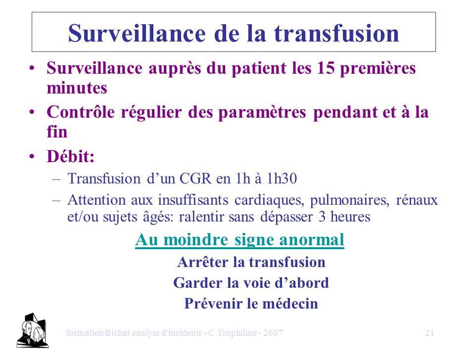 formation Bichat analyse d'incidents - C.Trophilme - 200721 Surveillance de la transfusion Surveillance auprès du patient les 15 premières minutes Con