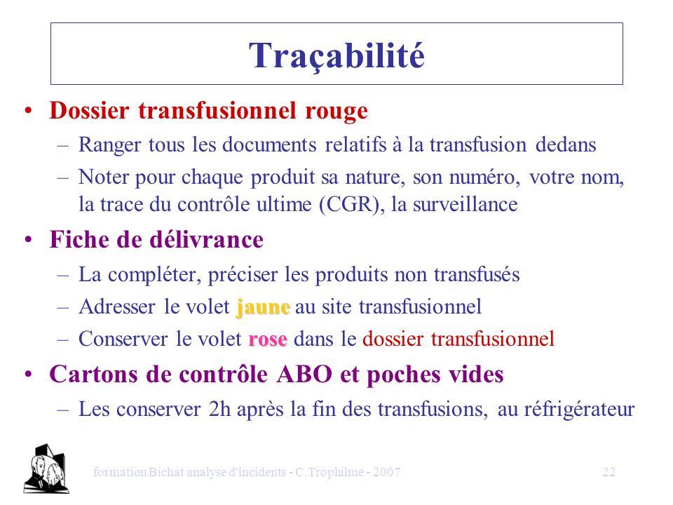 formation Bichat analyse d'incidents - C.Trophilme - 200722 Traçabilité Dossier transfusionnel rouge –Ranger tous les documents relatifs à la transfus