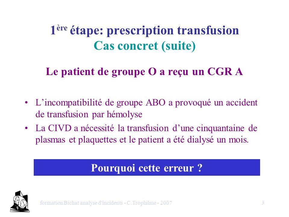 formation Bichat analyse d'incidents - C.Trophilme - 20073 1 ère étape: prescription transfusion Cas concret (suite) Le patient de groupe O a reçu un