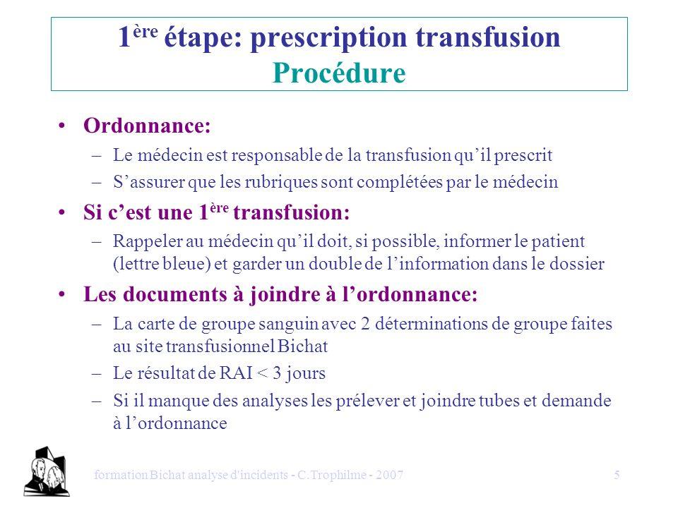 formation Bichat analyse d'incidents - C.Trophilme - 20075 Ordonnance: –Le médecin est responsable de la transfusion quil prescrit –Sassurer que les r