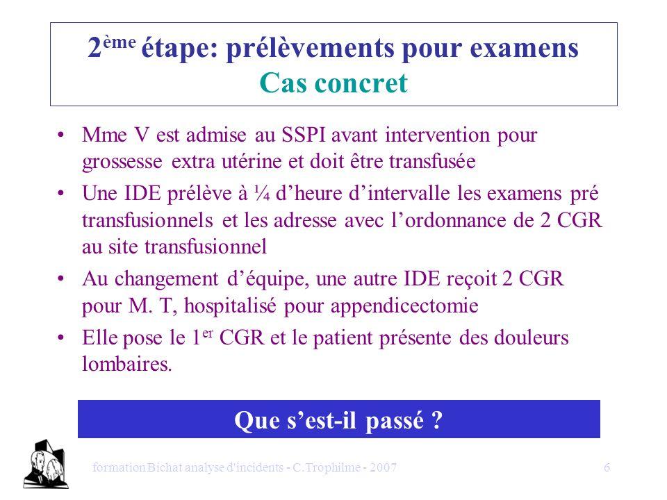 formation Bichat analyse d'incidents - C.Trophilme - 20076 Mme V est admise au SSPI avant intervention pour grossesse extra utérine et doit être trans