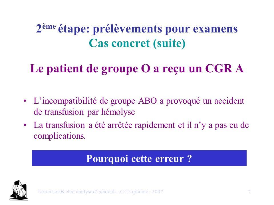 formation Bichat analyse d'incidents - C.Trophilme - 20077 2 ème étape: prélèvements pour examens Cas concret (suite) Le patient de groupe O a reçu un