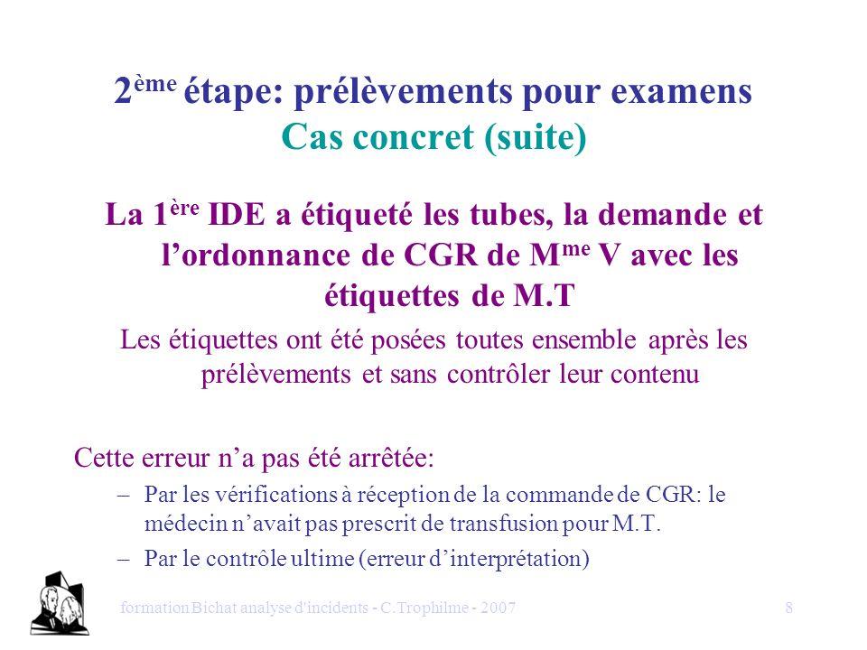 formation Bichat analyse d'incidents - C.Trophilme - 20078 La 1 ère IDE a étiqueté les tubes, la demande et lordonnance de CGR de M me V avec les étiq