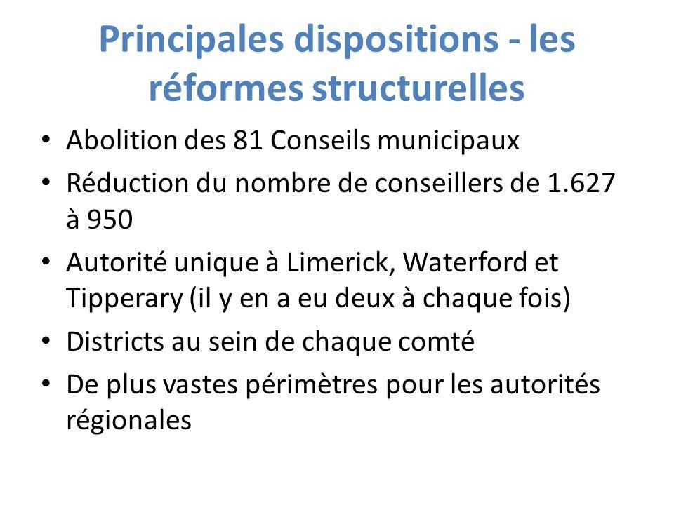 Principales dispositions - les réformes structurelles Abolition des 81 Conseils municipaux Réduction du nombre de conseillers de 1.627 à 950 Autorité unique à Limerick, Waterford et Tipperary (il y en a eu deux à chaque fois) Districts au sein de chaque comté De plus vastes périmètres pour les autorités régionales