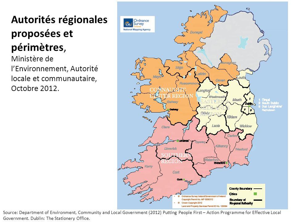 Autorités régionales proposées et périmètres, Ministère de lEnvironnement, Autorité locale et communautaire, Octobre 2012.