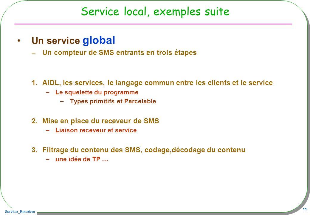 Service_Receiver 11 Service local, exemples suite Un service global –Un compteur de SMS entrants en trois étapes 1.AIDL, les services, le langage commun entre les clients et le service –Le squelette du programme –Types primitifs et Parcelable 2.Mise en place du receveur de SMS –Liaison receveur et service 3.Filtrage du contenu des SMS, codage,décodage du contenu –une idée de TP …