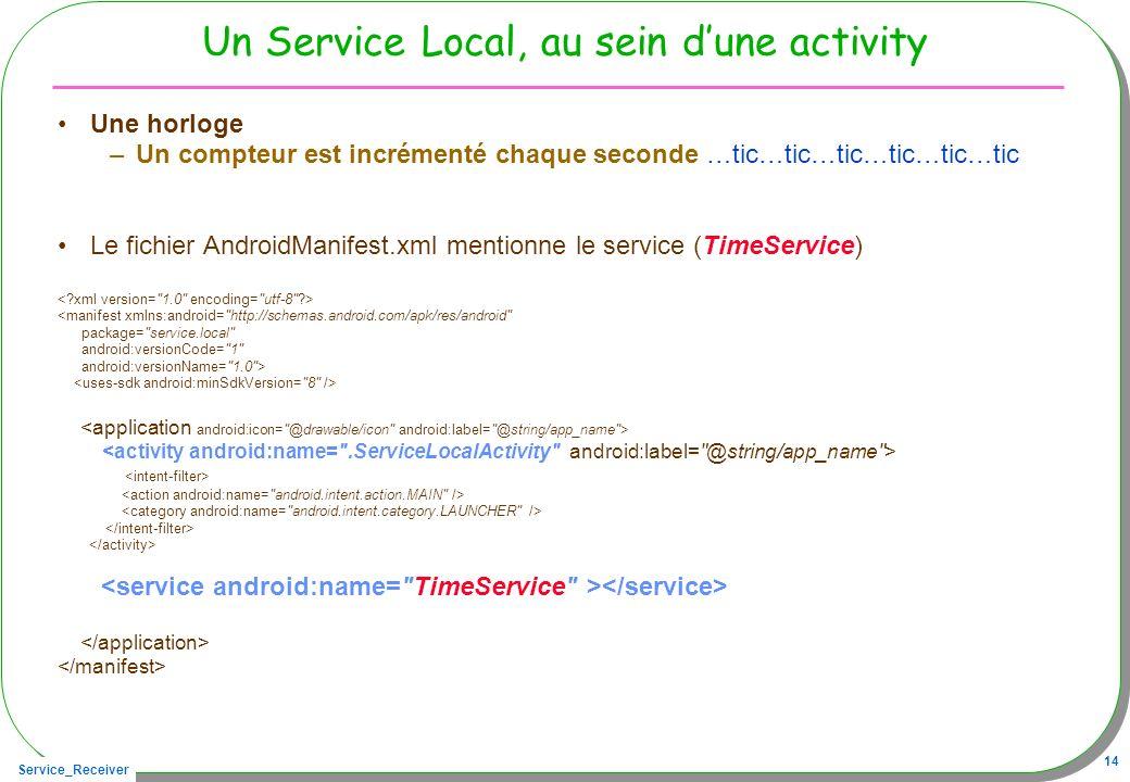Service_Receiver 14 Un Service Local, au sein dune activity Une horloge –Un compteur est incrémenté chaque seconde …tic…tic…tic…tic…tic…tic Le fichier AndroidManifest.xml mentionne le service (TimeService) <manifest xmlns:android= http://schemas.android.com/apk/res/android package= service.local android:versionCode= 1 android:versionName= 1.0 >