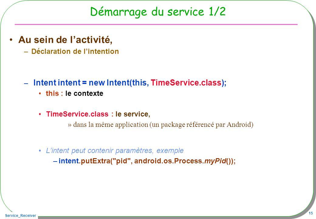 Service_Receiver 15 Démarrage du service 1/2 Au sein de lactivité, –Déclaration de lintention – Intent intent = new Intent(this, TimeService.class); this : le contexte TimeService.class : le service, »dans la même application (un package référencé par Android) Lintent peut contenir paramètres, exemple –intent.putExtra( pid , android.os.Process.myPid());