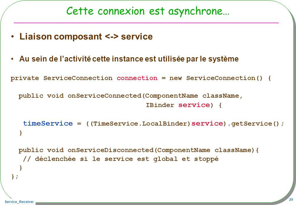 Service_Receiver 29 Cette connexion est asynchrone… Liaison composant service Au sein de lactivité cette instance est utilisée par le système private ServiceConnection connection = new ServiceConnection() { public void onServiceConnected(ComponentName className, IBinder service ) { timeService = ((TimeService.LocalBinder) service ).getService(); } public void onServiceDisconnected(ComponentName className){ // déclenchée si le service est global et stoppé } };