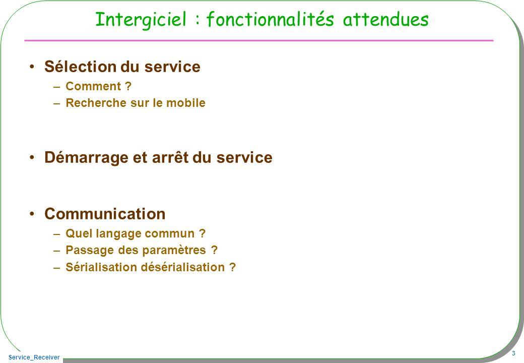 Service_Receiver 3 Intergiciel : fonctionnalités attendues Sélection du service –Comment .