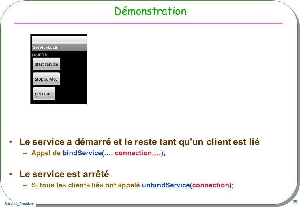 Service_Receiver 30 Démonstration Le service a démarré et le reste tant quun client est lié –Appel de bindService(…, connection,…); Le service est arrêté –Si tous les clients liés ont appelé unbindService(connection);