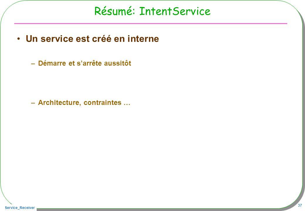 Service_Receiver 37 Résumé: IntentService Un service est créé en interne –Démarre et sarrête aussitôt –Architecture, contraintes …