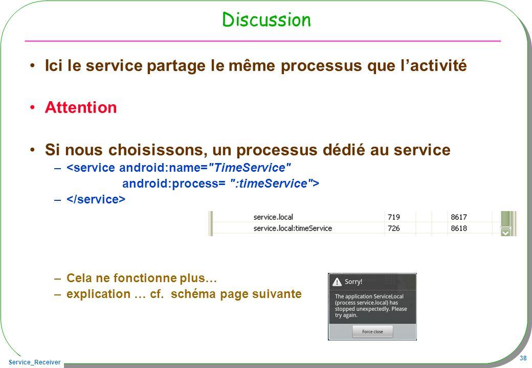 Service_Receiver 38 Discussion Ici le service partage le même processus que lactivité Attention Si nous choisissons, un processus dédié au service –<service android:name= TimeService android:process= :timeService > – –Cela ne fonctionne plus… –explication … cf.
