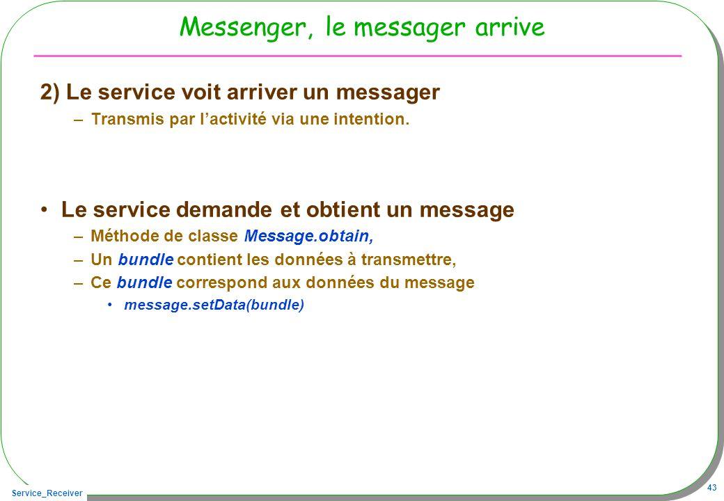 Service_Receiver 43 Messenger, le messager arrive 2) Le service voit arriver un messager –Transmis par lactivité via une intention. Le service demande