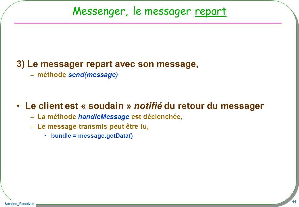 Service_Receiver 44 Messenger, le messager repart 3) Le messager repart avec son message, –méthode send(message) Le client est « soudain » notifié du retour du messager –La méthode handleMessage est déclenchée, –Le message transmis peut être lu, bundle = message.getData()