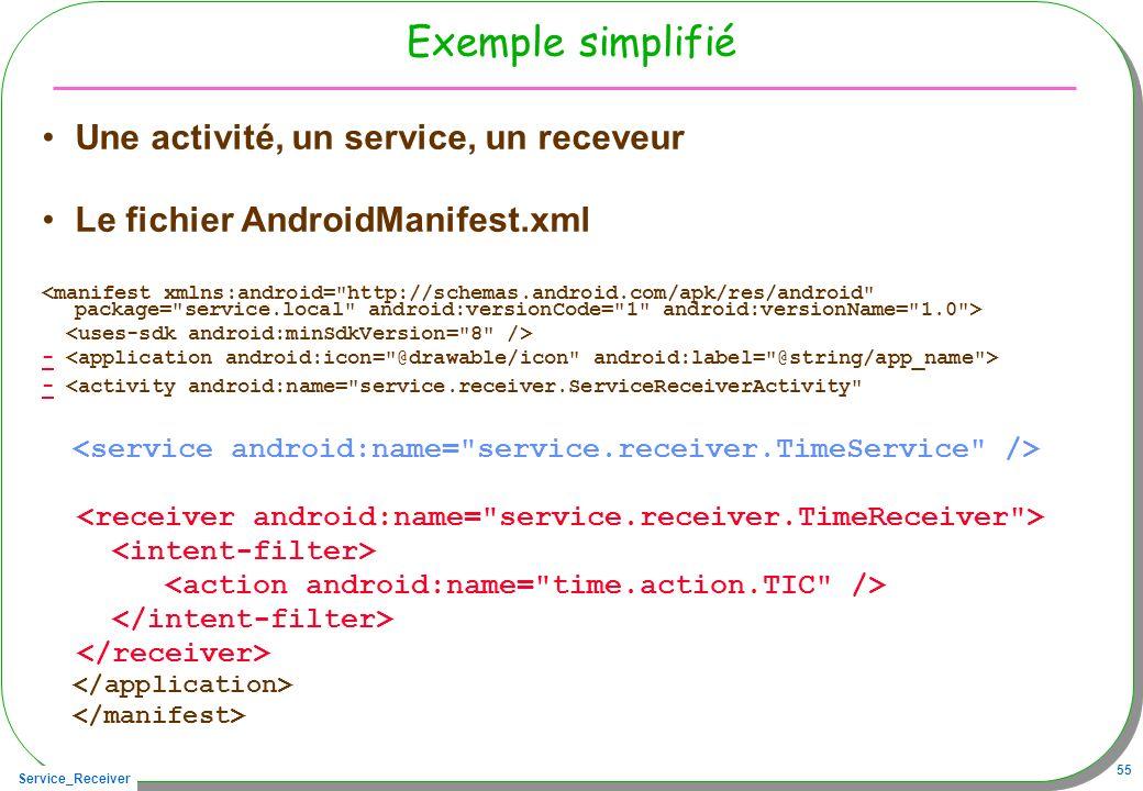 Service_Receiver 55 Exemple simplifié Une activité, un service, un receveur Le fichier AndroidManifest.xml - - <activity android:name= service.receiver.ServiceReceiverActivity