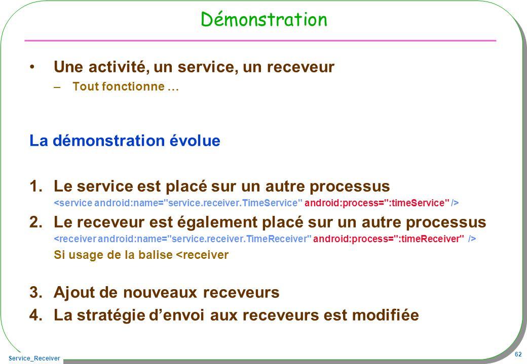 Service_Receiver 62 Démonstration Une activité, un service, un receveur –Tout fonctionne … La démonstration évolue 1.Le service est placé sur un autre processus 2.Le receveur est également placé sur un autre processus Si usage de la balise <receiver 3.Ajout de nouveaux receveurs 4.La stratégie denvoi aux receveurs est modifiée