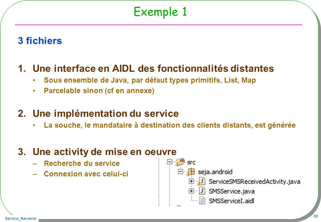Service_Receiver 68 Exemple 1 3 fichiers 1.Une interface en AIDL des fonctionnalités distantes Sous ensemble de Java, par défaut types primitifs, List, Map Parcelable sinon (cf en annexe) 2.Une implémentation du service La souche, le mandataire à destination des clients distants, est générée 3.Une activity de mise en oeuvre –Recherche du service –Connexion avec celui-ci