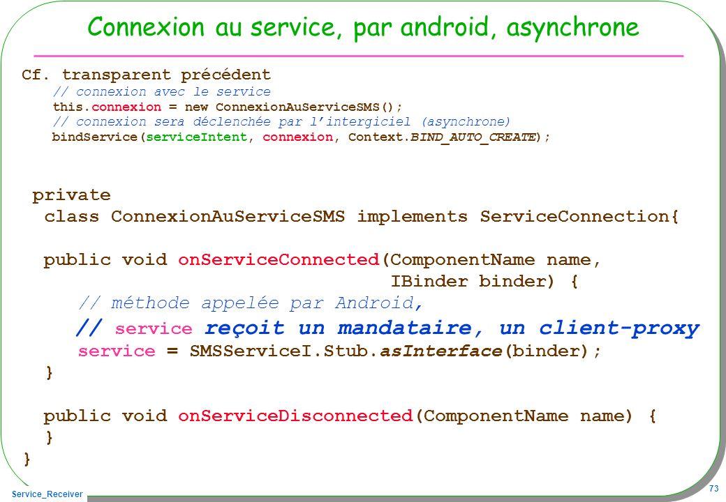 Service_Receiver 73 Connexion au service, par android, asynchrone Cf.