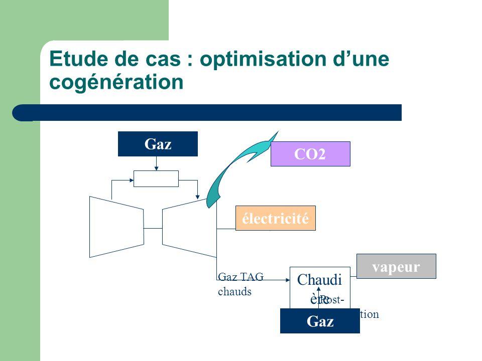 Etude de cas : optimisation dune cogénération électricité Chaudi ère vapeur CO2 Gaz Gaz TAG chauds Post- Combustion Gaz