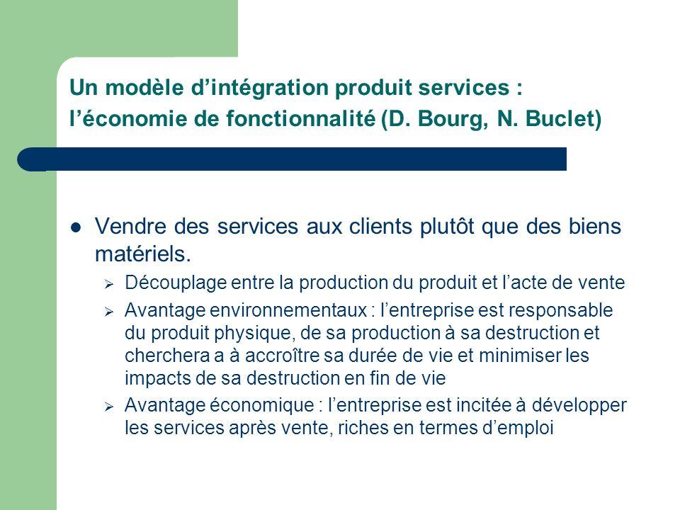 Un modèle dintégration produit services : léconomie de fonctionnalité (D.
