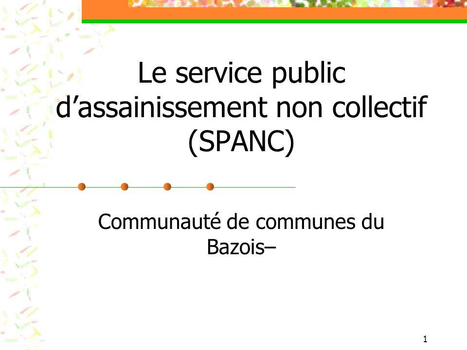 2 Le service public dassainissement non collectif (SPANC) Le principe de lassainissement non collectif.