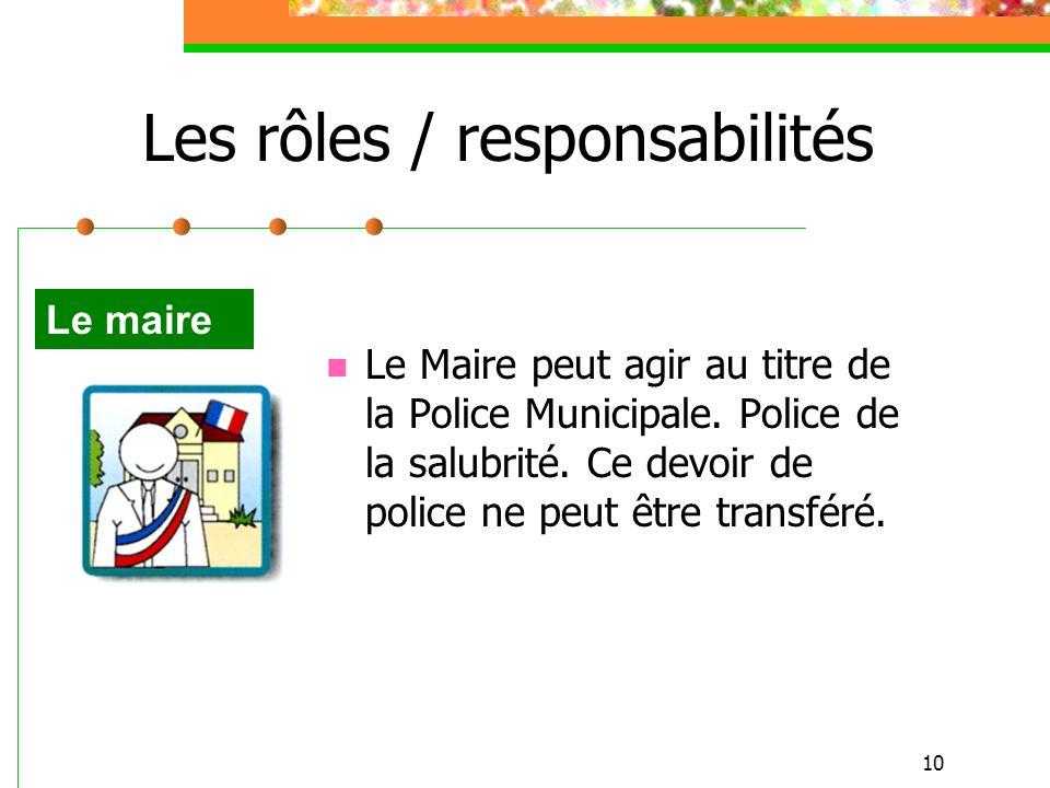 10 Les rôles / responsabilités Le Maire peut agir au titre de la Police Municipale. Police de la salubrité. Ce devoir de police ne peut être transféré