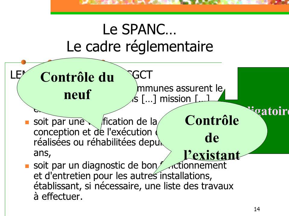 14 Le SPANC… Le cadre réglementaire LEMA du 30/12/2006 : CGCT Article L2224-8 […] Les communes assurent le contrôle des installations […] mission […]