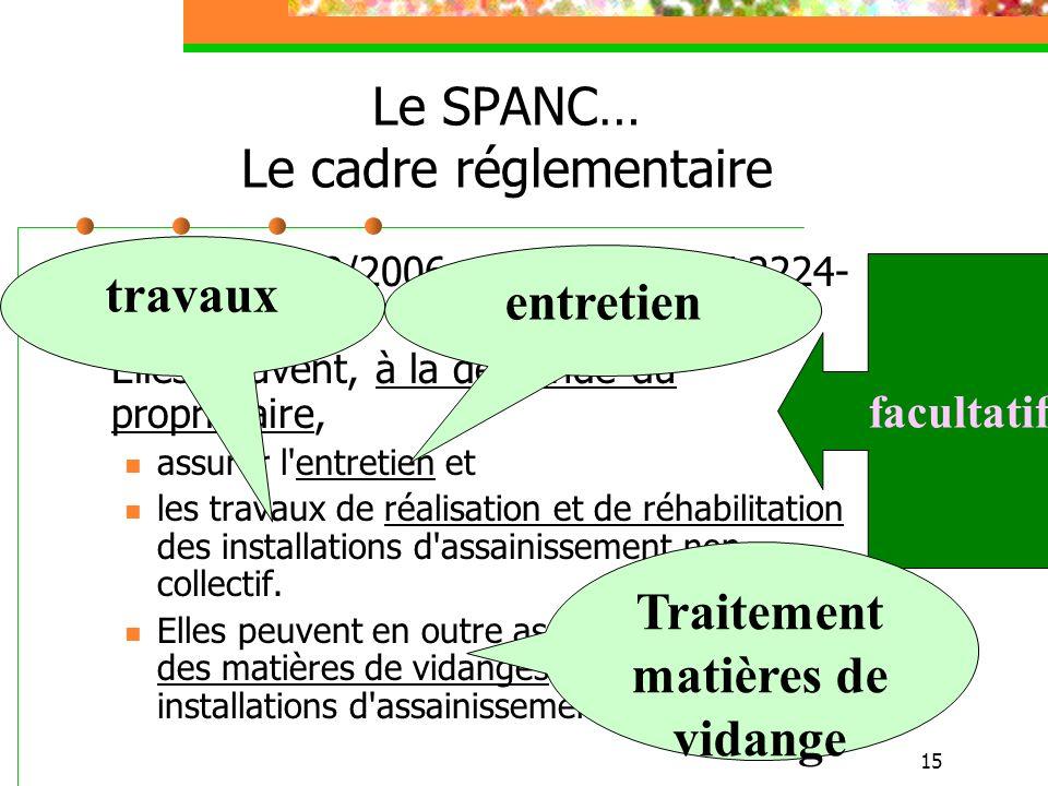 15 Le SPANC… Le cadre réglementaire LEMA du 30/12/2006 : CGCT Article L2224- 8 […] (suite) Elles peuvent, à la demande du propriétaire, assurer l'entr