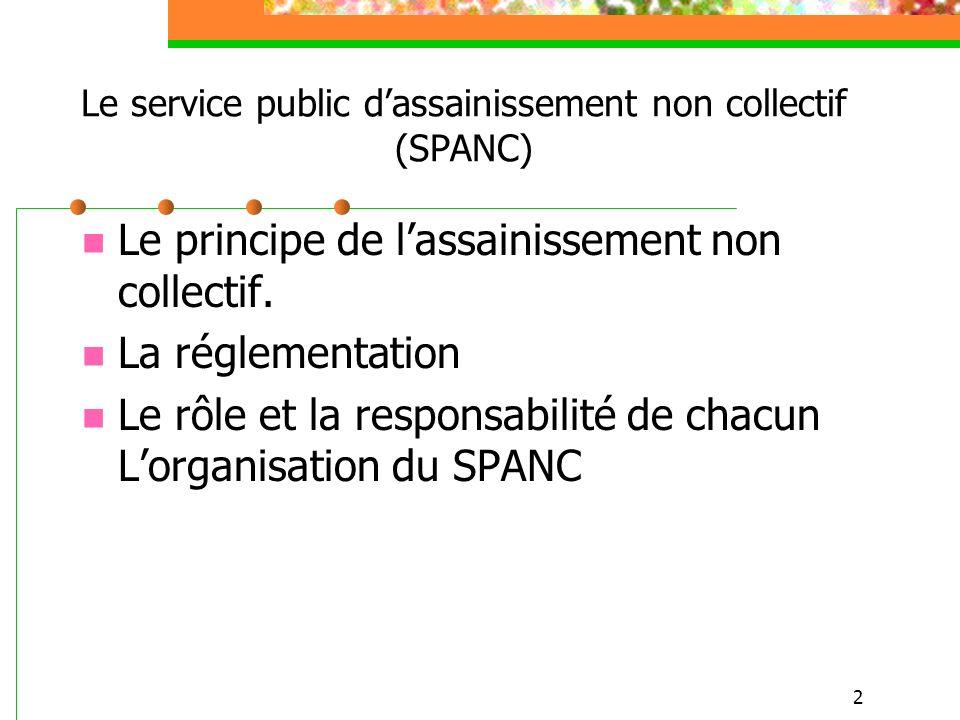 2 Le service public dassainissement non collectif (SPANC) Le principe de lassainissement non collectif. La réglementation Le rôle et la responsabilité