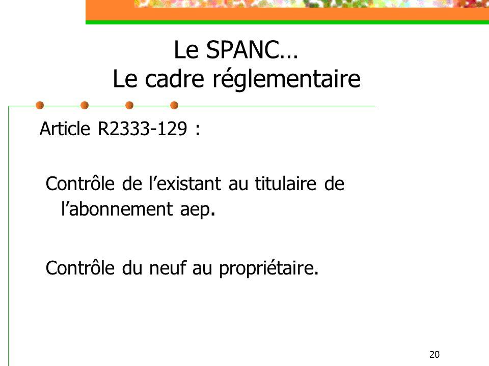 20 Le SPANC… Le cadre réglementaire Article R2333-129 : Contrôle de lexistant au titulaire de labonnement aep. Contrôle du neuf au propriétaire.