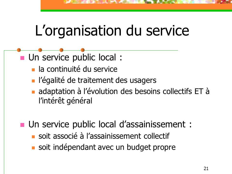 21 Lorganisation du service Un service public local : la continuité du service légalité de traitement des usagers adaptation à lévolution des besoins