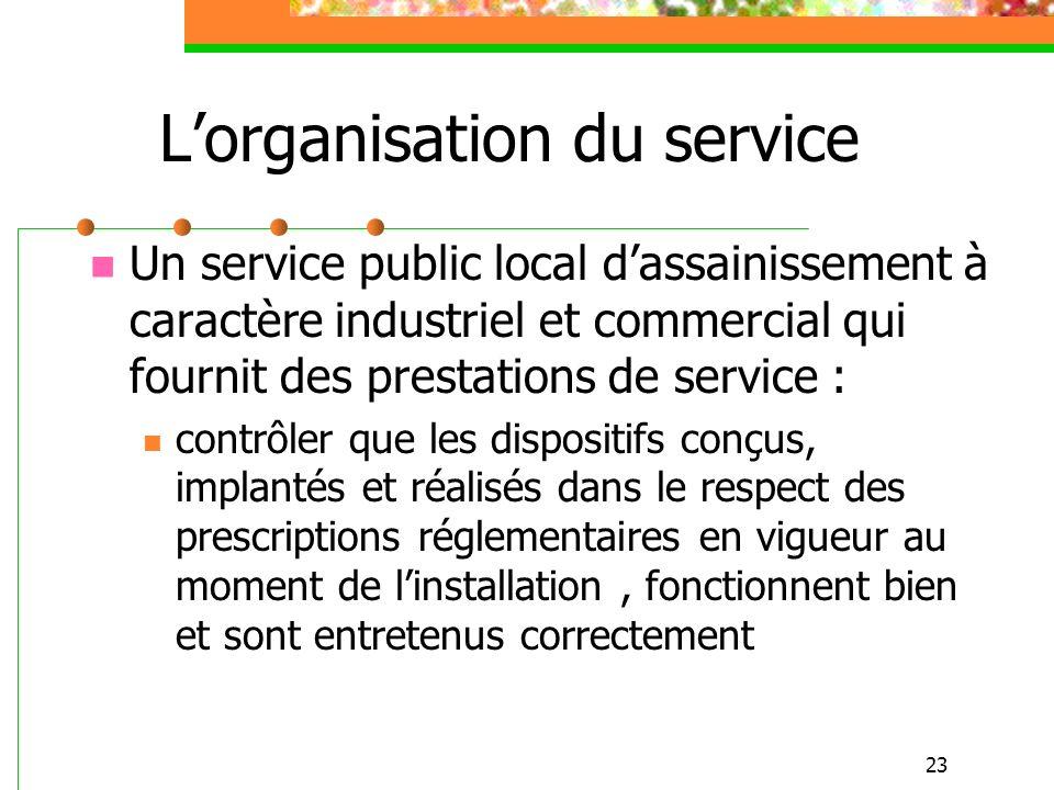 23 Lorganisation du service Un service public local dassainissement à caractère industriel et commercial qui fournit des prestations de service : cont