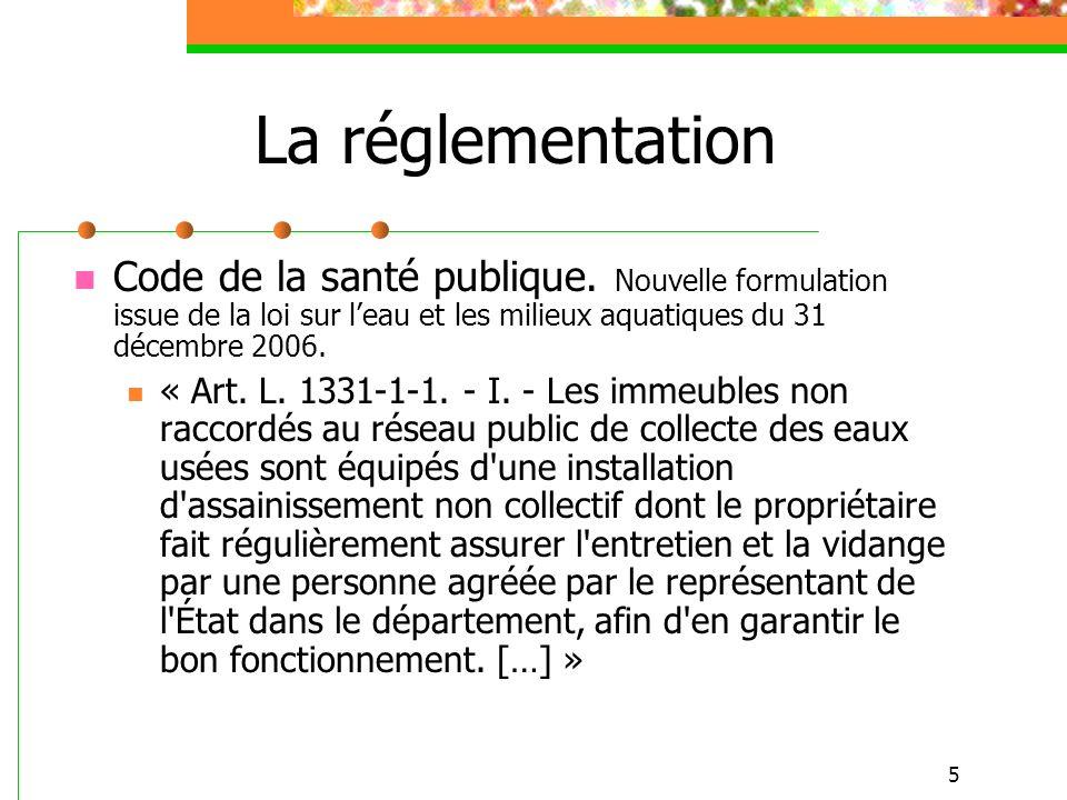 16 Le SPANC… Le cadre réglementaire LEMA du 30/12/2006 : CGCT Article L2224-8 […] (suite) Elles peuvent fixer des prescriptions techniques, notamment pour l étude des sols ou le choix de la filière, en vue de l implantation ou de la réhabilitation d un dispositif d assainissement non collectif.