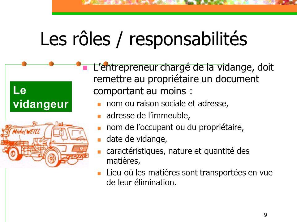 9 Les rôles / responsabilités Lentrepreneur chargé de la vidange, doit remettre au propriétaire un document comportant au moins : nom ou raison social