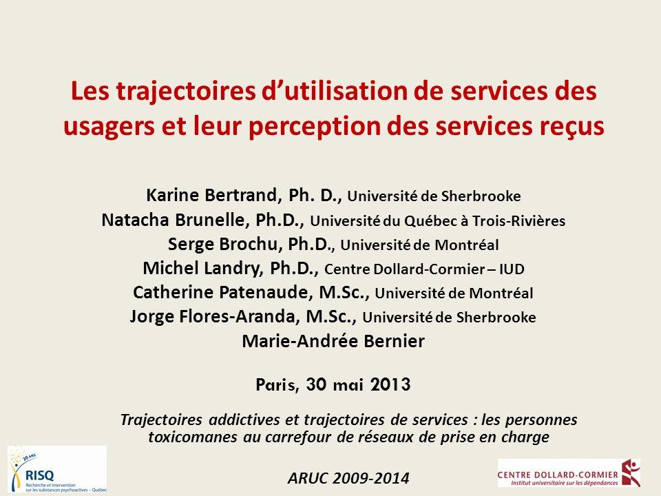 Les trajectoires dutilisation de services des usagers et leur perception des services reçus Karine Bertrand, Ph.