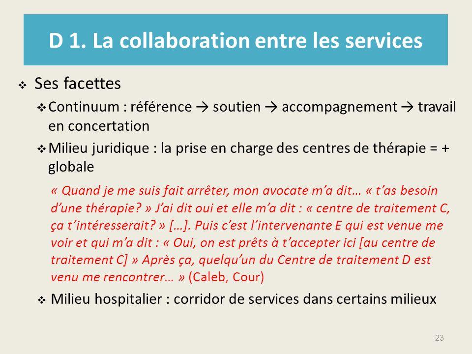 D 1. La collaboration entre les services Ses facettes Continuum : référence soutien accompagnement travail en concertation Milieu juridique : la prise