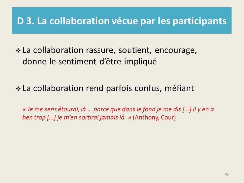 D 3. La collaboration vécue par les participants La collaboration rassure, soutient, encourage, donne le sentiment dêtre impliqué La collaboration ren