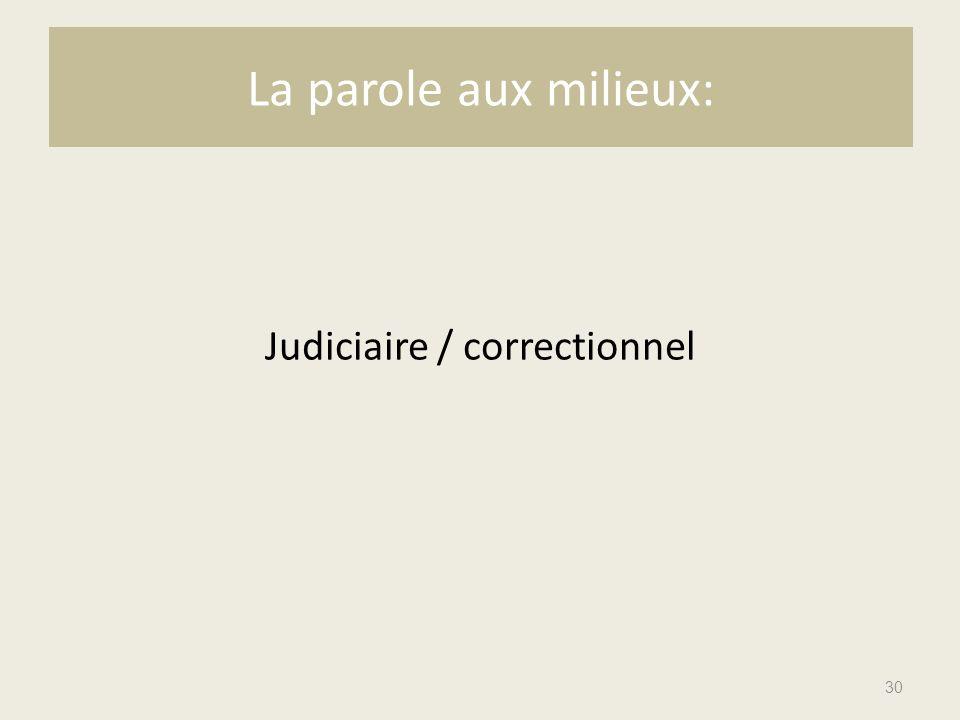 Judiciaire / correctionnel 30 La parole aux milieux: