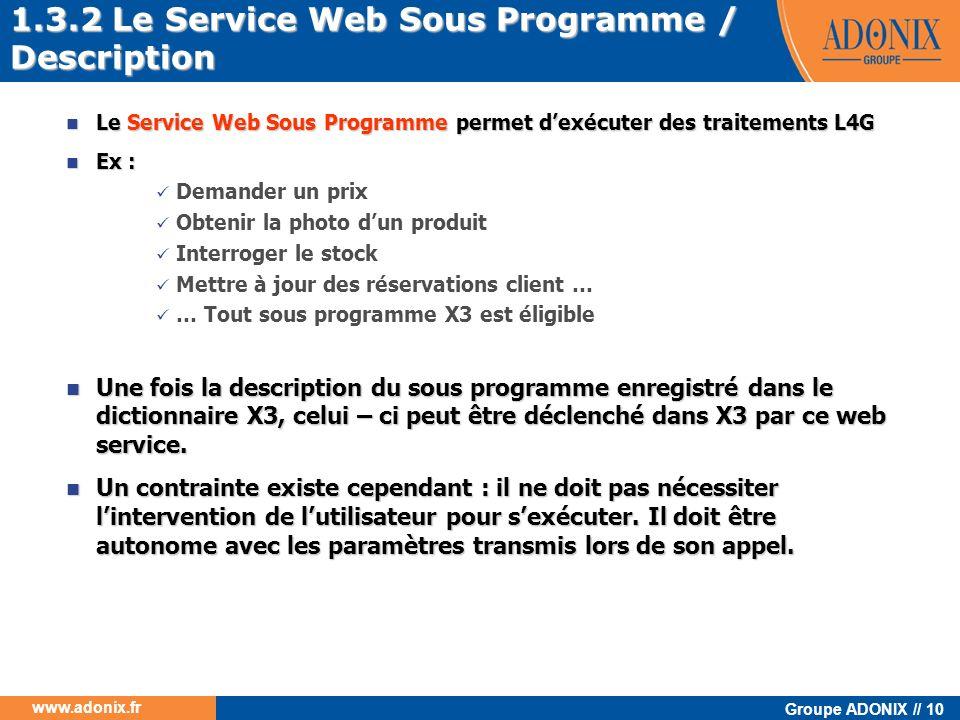 Groupe ADONIX // 10 www.adonix.fr Le Service Web Sous Programme permet dexécuter des traitements L4G Le Service Web Sous Programme permet dexécuter de
