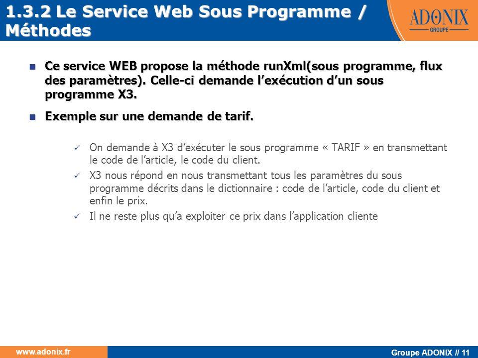 Groupe ADONIX // 11 www.adonix.fr Ce service WEB propose la méthode runXml(sous programme, flux des paramètres). Celle-ci demande lexécution dun sous
