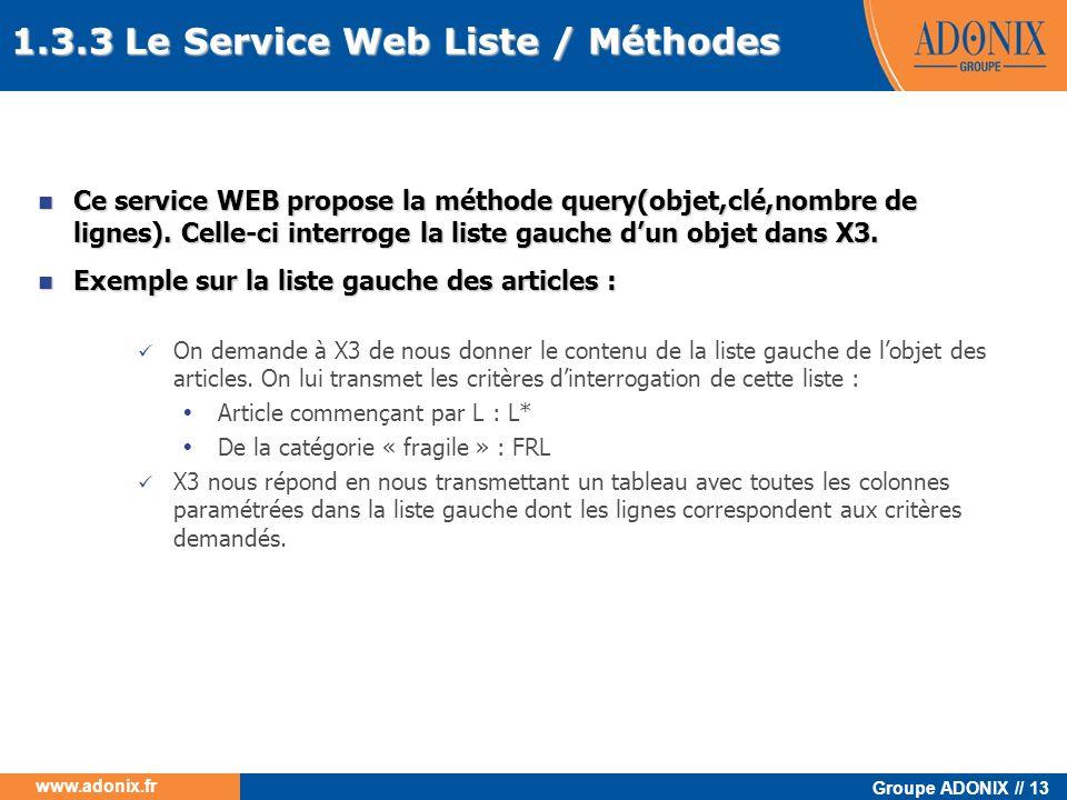 Groupe ADONIX // 13 www.adonix.fr Ce service WEB propose la méthode query(objet,clé,nombre de lignes). Celle-ci interroge la liste gauche dun objet da