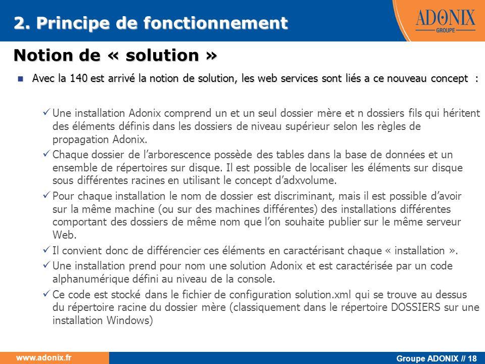Groupe ADONIX // 18 www.adonix.fr Notion de « solution » Avec la 140 est arrivé la notion de solution, les web services sont liés a ce nouveau concept